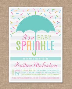 BABY SHOWER Invitation Baby Sprinkle Umbrella by kimberlyjdesign, $15.00