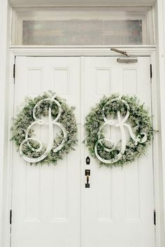 Baby's breath winter wreath monogrammed wedding