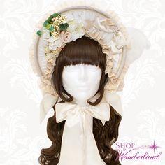 Shop In Wonderland - Triple Fortune Bonnet - Cream x Cream x Silver, $185.00 (http://shopinwonderland.com/triple-fortune-bonnet-cream-x-cream-x-silver/)