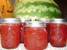 Putting Up The Sweets Canning Watermelon Jam- My goodness this is so Good! I'd been searching for ways to save and preserve for quite awhile as I've watched our watermelon patch go crazy this year. Watermelons are everywhere out there and my mind was rac Watermelon Jelly, Watermelon Patch, Watermelon Recipes, Canning Tips, Canning Recipes, Canning Salsa, Canning Tomatoes, Jelly Recipes, Sauces