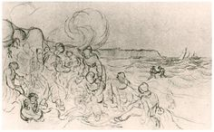 A Group of Figures on the Beach Vincent van Gogh Drawing, Black chalk Saint-Rémy: January - April, 1890
