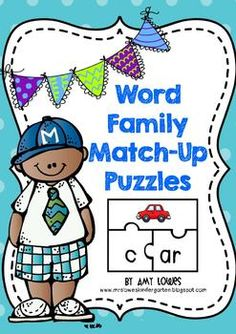 Word Family Match-Up Puzzles--the ultimate word family resource! 66 puzzles for whole-group, small-group, or literacy center use!  Response sheets included!
