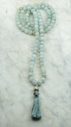 Morning Mist Mala - Aquamarine 108 Mala Beads