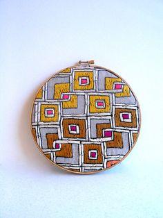 Geometric Mod Embroidery hoop wall art by HelloHorizon