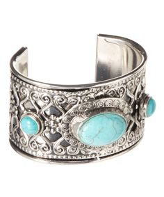 Love this Silver & Turquoise Cabochon Cuff by  on #zulily! #zulilyfinds