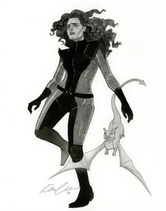 Kitty Pryde - HeroesCon 2014 sketch by Kevin Wada - Requirements were new costume and curly hair.