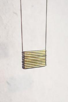 Brass Stacked Bar Necklace. $45.00, via Etsy seller MothHouse