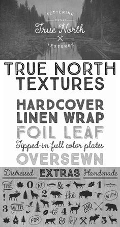 True North Textures Font: True North is back but now in a distressed version and new styles! True North Textures is a vintage typeface with 18 fonts and. True North, Fonts, Creativity, Typography, Social Media, Letters, Texture, Type, Designer Fonts