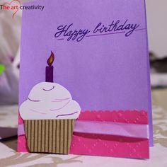 Biglietto di auguri per compleanno. #happybirthday #compleanno #cupcake #lilla #card #paper #raso #pink #auguri #handmade