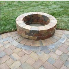 Half round patio with round firepit