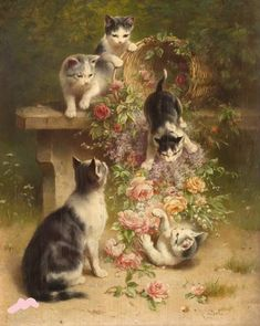 Katzen mit Rosenkorb, [Five Cat/Kittens with Rose Basket] -- by Carl Reichert (Austrian, Post card of this painting posted further down on this board. I Love Cats, Crazy Cats, Cool Cats, Images Victoriennes, Foto Fantasy, Jolie Photo, Cat Drawing, Animal Paintings, Beautiful Cats