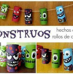 Holidays Halloween, Halloween Crafts, Happy Halloween, Halloween Decorations, Halloween Party, Monster Party, Monster Birthday Parties, Paper Towel Roll Crafts, Kindergarten Art Projects