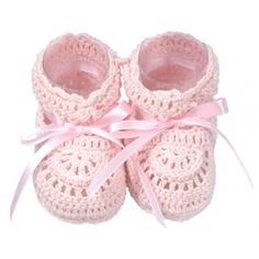 d-lux Becca hand-crocheted cotton baby booties - Pink #dlux #crocheted #booties #baby #babybooties #babygift #babygirl