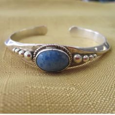 "Vintage Native American cuff bracelet sterling Beautiful Sterling Silver .925 Women's Bangle Bracelet | Blue Gemstone  Approximate Wrist Size = 6.25"" - 6.5"" 