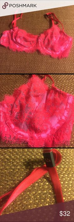 Victoria's Secret very sexy lace bra Unlined Demi bra in pink and red. NWT Victoria's Secret Intimates & Sleepwear Bras
