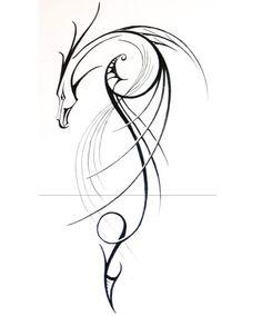 lineare-darstellung-drache-design-tattoo-vorlagen-ideen