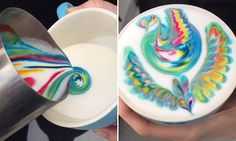 Mesmerising videos of barista's colourful new take on milk foam
