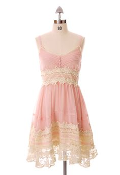 Got a Date Pink Lace Dress - Floral - Dress - Retro, Indie and Unique Fashion. Would be so cute with a sweater :)