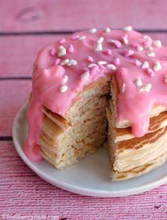 Valentine's Day Cherry Chip Pancakes with Cheesecake Sauce Recipe