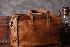 85f00d33d19 Cool leather mens Briefcase vintage Shoulder Bag weekender bag travel bag  for men
