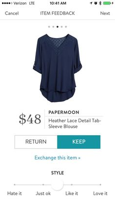 Papermoon Heather Lace Detail Tab-Sleeve Blouse