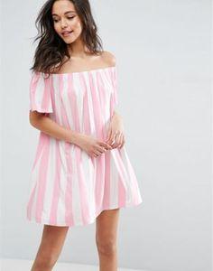 ASOS Off Shoulder Dress In Deckchair Stripe