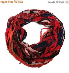 SALE Sari Silk Chiffon Printed Ribbon , 100g