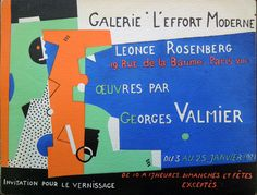 When World War I ended, collector Léonce Rosenberg (1879-1947) opened the Galerie de L'Effort Moderne at 19, rue de la Baume, where he exhibited his personal collection of paintings by Picasso, Léger, Braque, and other Cubist artists. The gallery stayed open for twenty-two years, presenting one-man shows. Advertisements for exhibitions at Galerie de l'Effort Moderne were printed with pochoir or stencil color.