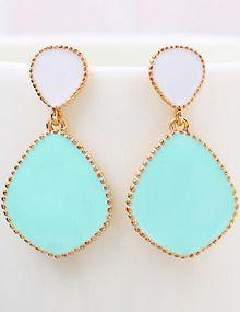 Blue Glaze Gold Drop Earrings