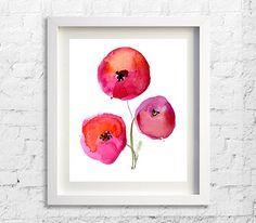 Art Print Watercolor Red Poppies Paintnig by Watercolorflower