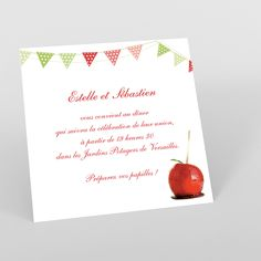 Carte invitation Gourmandise - mariage - Carte invitation carrée