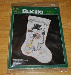 "New Bucilla Christmas Stocking Cross Stitch Jolly Snowman #28475 18"" Diag #Bucilla"