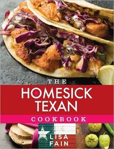 The Homesick Texan Cookbook  When Lisa Fain, a seventh-generation Texan, moved to New York City, she missed the big sky, the bluebonnets in spring, Friday night football, and her family's farm. But most of all, she missed the foods she'd grown up with. After a fruitless search for tastes of Texas in New York City, Fain took matters into her own hands. She headed into the kitchen to cook for her friends the Tex-Mex, the chili, and the country comfort dishes that reminded her of home.