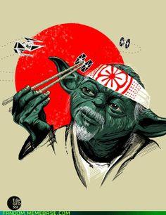 Geek-a-licious! Karate Kid meets Star Wars. Mr. Miyagi Yoda San, so wise...I think Pat Morita would be very proud...