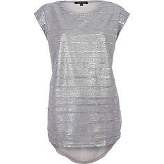 grey metallic chiffon back t-shirt - t-shirts - t shirts / vests / sweats - women - River Island