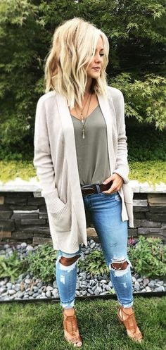 #fall #outfits women's grey open-front cardigan and grey camisole and distressed blue denim jeans