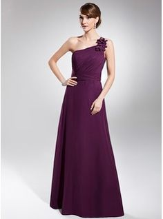 A-Line/Princess One-Shoulder Floor-Length Chiffon Evening Dress With Ruffle (017014740) - JJsHouse