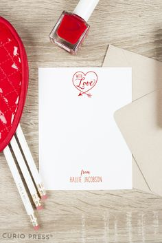 Love heart flat notecard set by CurioPress. Romantic, Valentine's Day, Hearts Stationery. Personalized & Custom Paper Goods & Gifts. Click through to see more.