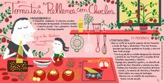 Cositas Ricas Ilustradas por Pati Aguilera: Tomates rellenos con Choclo Chilean Recipes, Chilean Food, Cookbook Design, Best Cookbooks, Publication Design, Fodmap, Lunches And Dinners, Salad Dressing, Stevia