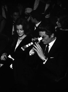 Romy Schneider and Alain Delon at the premiere of Jacques Brel, Paris, Olympia, 1963 Romy Schneider, Alain Delon, Heroes Actors, Le Clan, Beaux Couples, Black Tulips, Film Director, Paris, In Hollywood