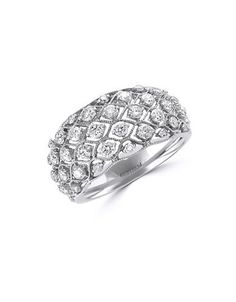 Effy Pave Classica Diamond and 14K White Gold Dome Ring, 1 TCW Women's