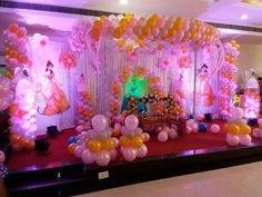 Huge princess theme decoration - birthday high-end theme decorations in Hyderabad Birthday Balloon Decorations, First Birthday Party Decorations, Princess Party Decorations, Wedding Stage Decorations, Birthday Balloons, Birthday Party Planner, 1st Birthday Party For Girls, Birthday Ideas, Naming Ceremony Decoration