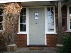 Entrance doors & front doors in Surrey, Hampshire & Berkshire. Example of painted door. Cottage Style Front Doors, Green Front Doors, Front Doors With Windows, Cottage Door, Front Door Colors, Grey Doors, Front Door Porch, Porch Doors, Front Door Entrance