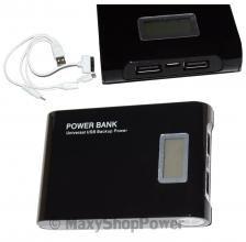 POWER PACK BANK CARICA BATTERIA EMERGENZA LCD 12000 MAH BLACK NERO UNIVERSAEL USB DUAL - SU WWW.MAXYSHOPPOWER.COM