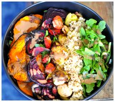This Roasted Veggie and Tahini Quinoa bowl recipe is absolutely gorgeous. With the perfect blend of flavors and textures, it is sure to be a fast favorite!