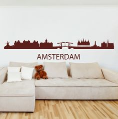 Amsterdam Skyline Wall Sticker. Take a virtual trip each day through the charming city of Amsterdam known for its Gondolas, canals across the city and tribute to art maestros through sprawling museums like Van Gogh museum by painting your walls with the Amsterdam skyline wall decals and stickers. http://walliv.com/amsterdam-skyline-wall-sticker-wall-art-decal