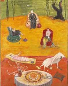 These summer-like temperatures are making us feel like #FlorineStettheimer's Heat (1919). Painted in her typically quirky mix of fantasy and reality, this family portrait is inspired by a birthday celebration for Stettheimer's mother in the summer of 1918. In it the artist, her mother, and three sisters lounge in the intense summer heat in a garden, loosely based on their rented summer house Bedford Hills, New York. The artist's sister Ettie (here in the pink flowered dress) left the…
