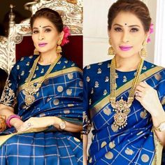 shreedevi chowdary gadwal silk saree with elbow length sleeves blouse Pattu Saree Blouse Designs, Fancy Blouse Designs, Saree Blouse Patterns, Blouse Neck Designs, Blue Silk Saree, Mysore Silk Saree, Silk Sarees, Indian Bridal Sarees, Designer Blouse Patterns