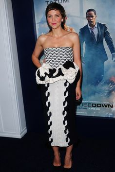 White House Down premier, New York - June 25 2013  Maggie Gyllenhaal wore a knitted Christian Dior bandeau dress from the label's autumn/winter 2013-14 collection.