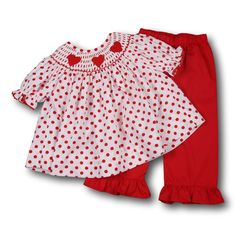 053927cb69ed Red Dot Smocked Heart Pant Set. Cecil And LouBaby Girl FallSmocked Clothing Valentine s ...
